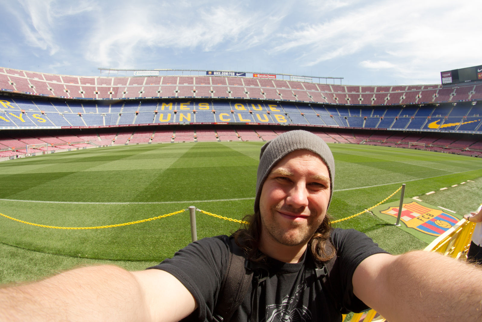 Willi im Camp Nou in Barcelona, Spanien