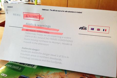 Wetter-Warnhinweis im Gästehaus