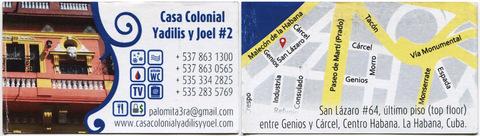 Visitenkarte der Casa Colonial Yadilis y Joel #2